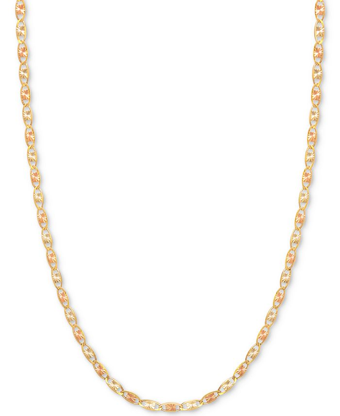 Italian Gold - Tri-Color Valentina Chain Necklace in 14k Gold, White Gold & Rose Gold