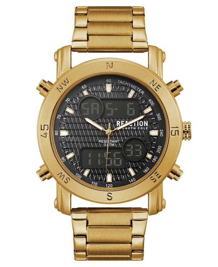 Kenneth Cole Reaction - Men's Analog-Digital Sport Gold-Tone Stainless Steel Bracelet Watch 45mm