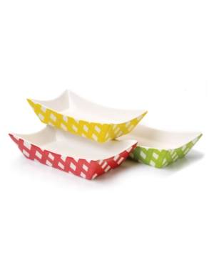 Clay Art Dinnerware, Set of 4 Gingham Barbecue Burger Boats