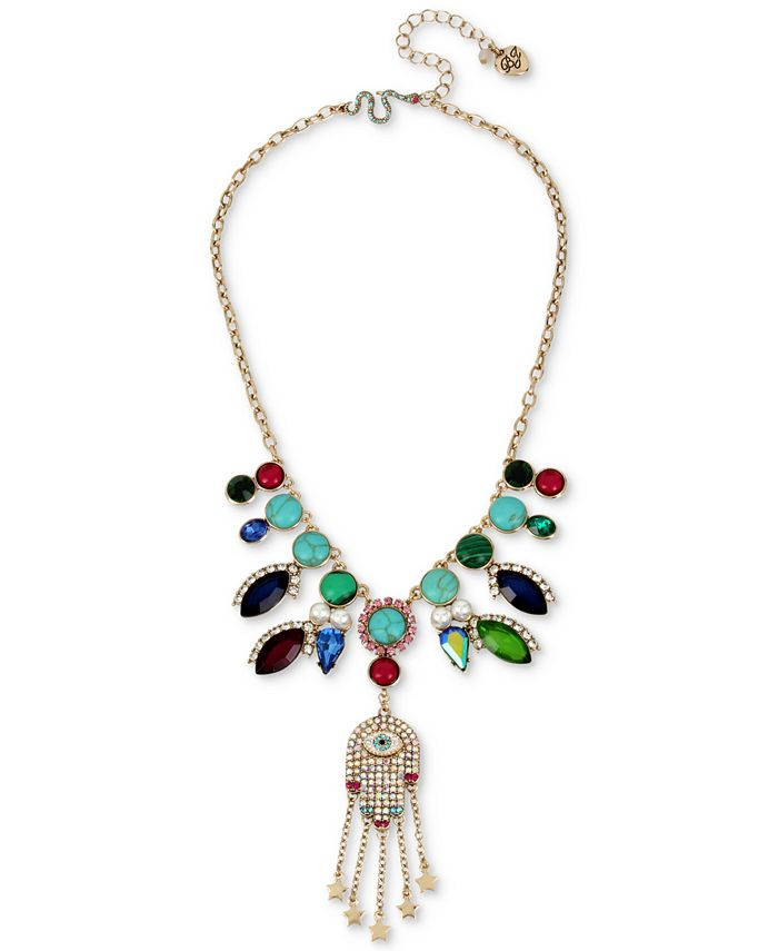 Betsey Johnson - Gold-Tone Stone, Imitation Pearl & Pavé Hamsa Hand Statement Necklace