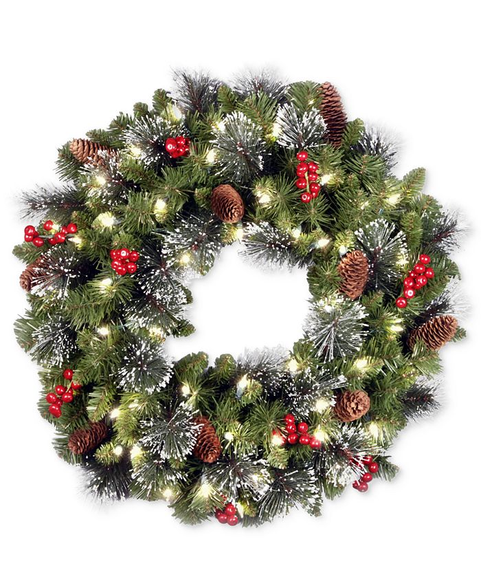 "National Tree Company - 24"" Crestwood Spruce Wreath With Silver Bristle, Pine Cones, Berries, Glitter & 50 LED Lights"