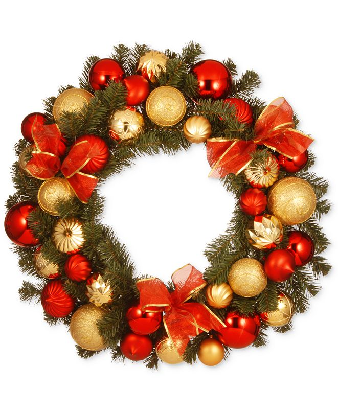 "National Tree Company 30"" Gold & Red Mixed Ornament Wreath With Bows"