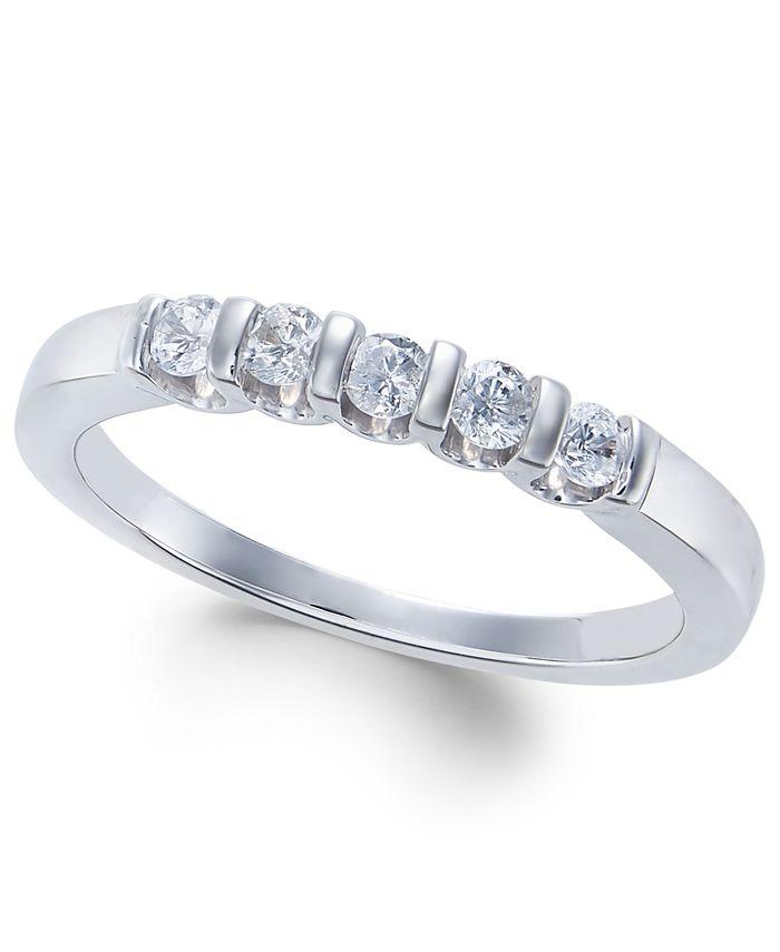 Macy's - Diamond Five-Stone Band (1/4 ct. t.w.) in 14k White Gold