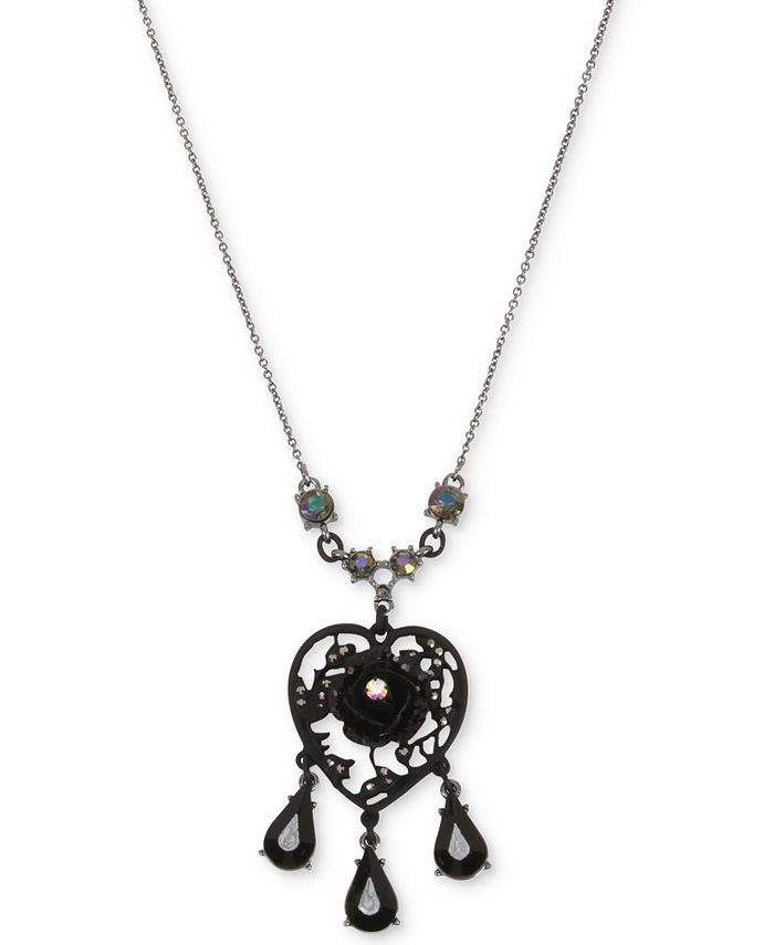 Betsey Johnson - Hematite-Tone Filigree Heart Flower & Jet Stone Pendant Necklace