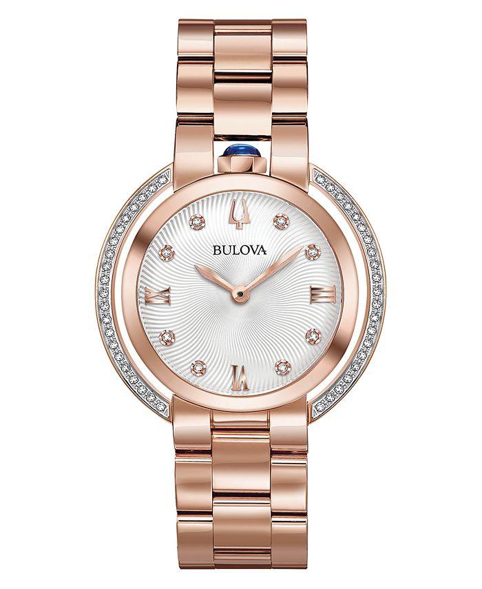 Bulova - Women's Rubaiyat Diamond (1/4 ct. t.w.) Rose Gold-Tone Stainless Steel Bracelet Watch 35mm