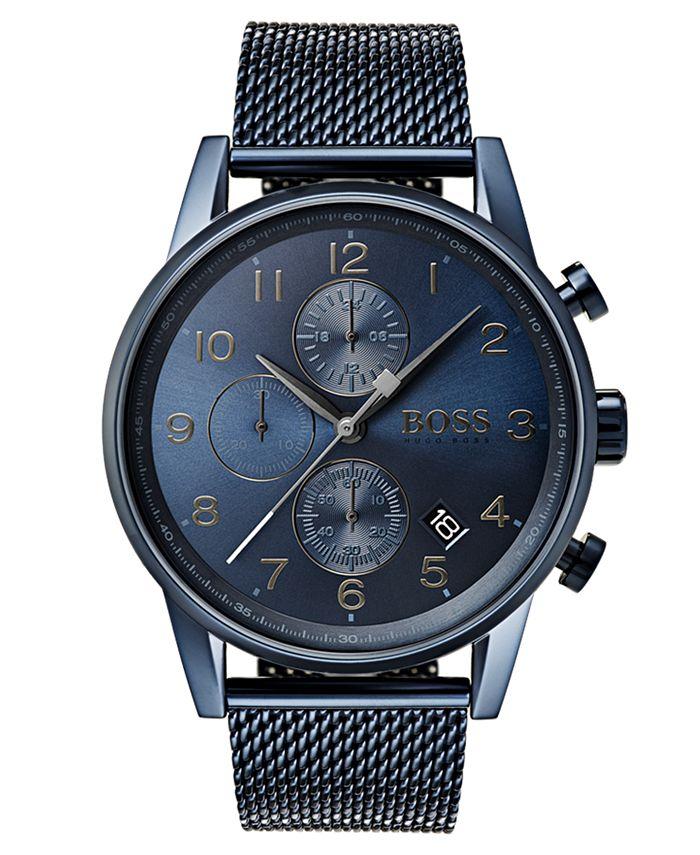 BOSS - Men's Chronograph Navigator Blue Stainless Steel Mesh Bracelet Watch 44mm