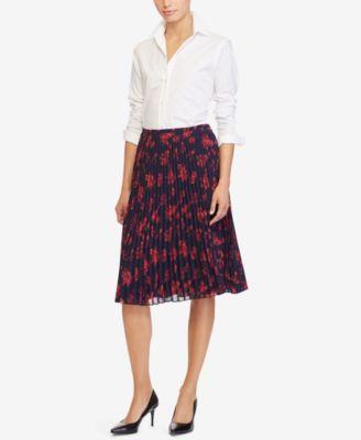 Lauren Ralph Lauren Floral-Print A-Line Midi Skirt