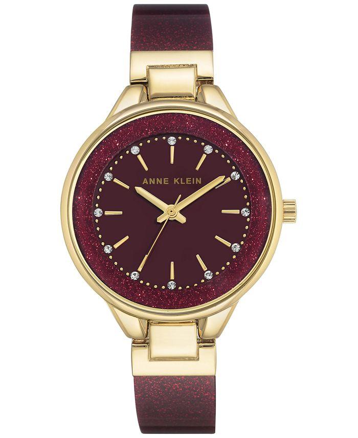 Anne Klein - Women's Burgundy Bangle Bracelet Watch 36mm