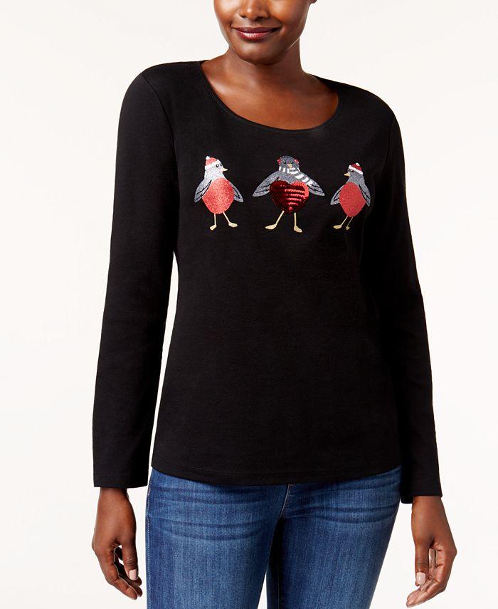 Karen Scott - Petite Cotton Embellished Birds Top