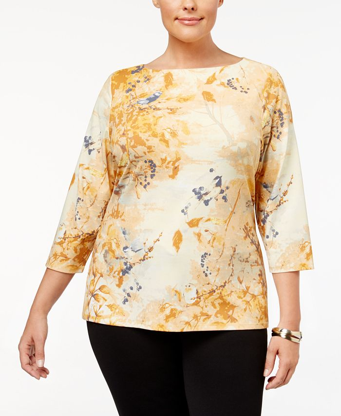 Charter Club - Plus Size Printed Boat-Neck Top