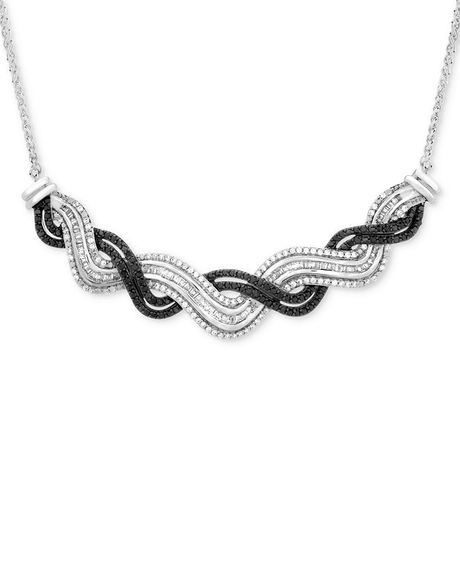 Wrapped in Love Diamond Wave Collar Necklace (1 ct. t.w.) in Sterling Silver, Created for Macy's