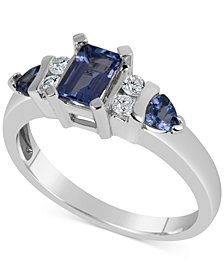 Tanzanite (1 ct. t.w.) & Diamond (1/8 ct. t.w.) in 14k White Gold