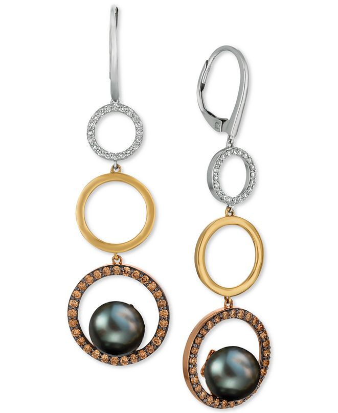 Le Vian Chocolatier® Black Cultured Pearl (9mm) & Diamond (7/8 ct. t.w.) Circle Drop Earrings in 14k Gold, White Gold & Rose Gold