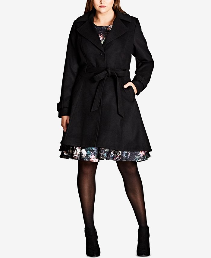 City Chic - Trendy Plus Size Belted Coat