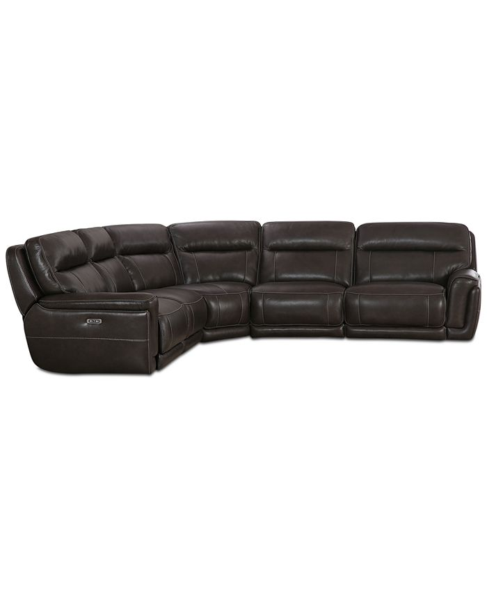 Furniture - Summerbridge 5-Pc. Leather Sectional with 3 Power Reclining Chairs and Power Headrests