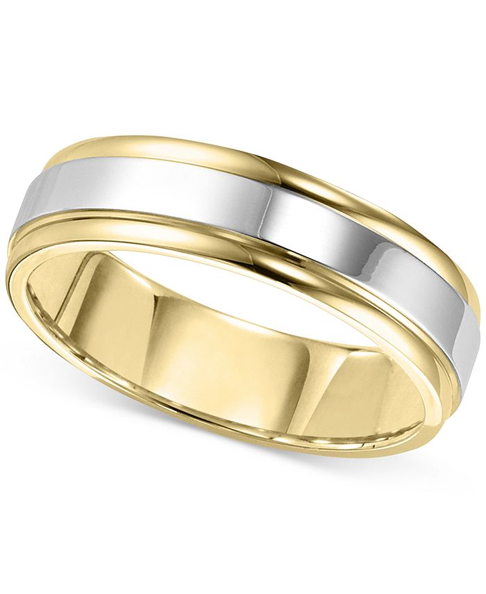 Macy's - Men's Two-Tone Band in 14k Gold & White Gold
