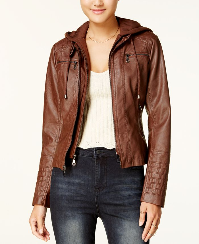 Maralyn & Me - Hooded Faux-Leather Jacket