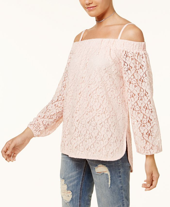 7 Sisters - Juniors' Off-The-Shoulder Lace High-Low Top