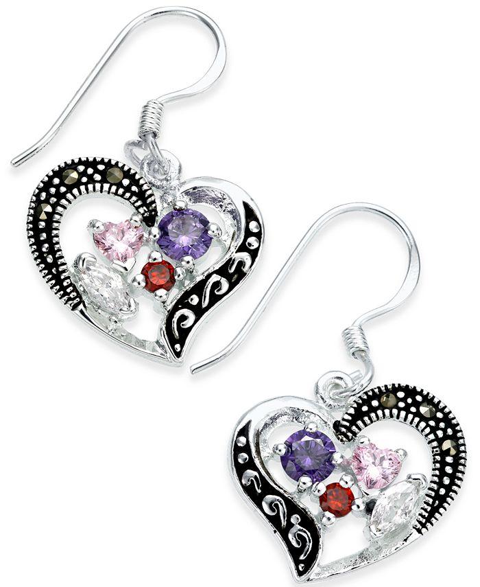 Macy's - Marcasite & Cubic Zirconia Heart Drop Earrings in Fine Silver-Plate