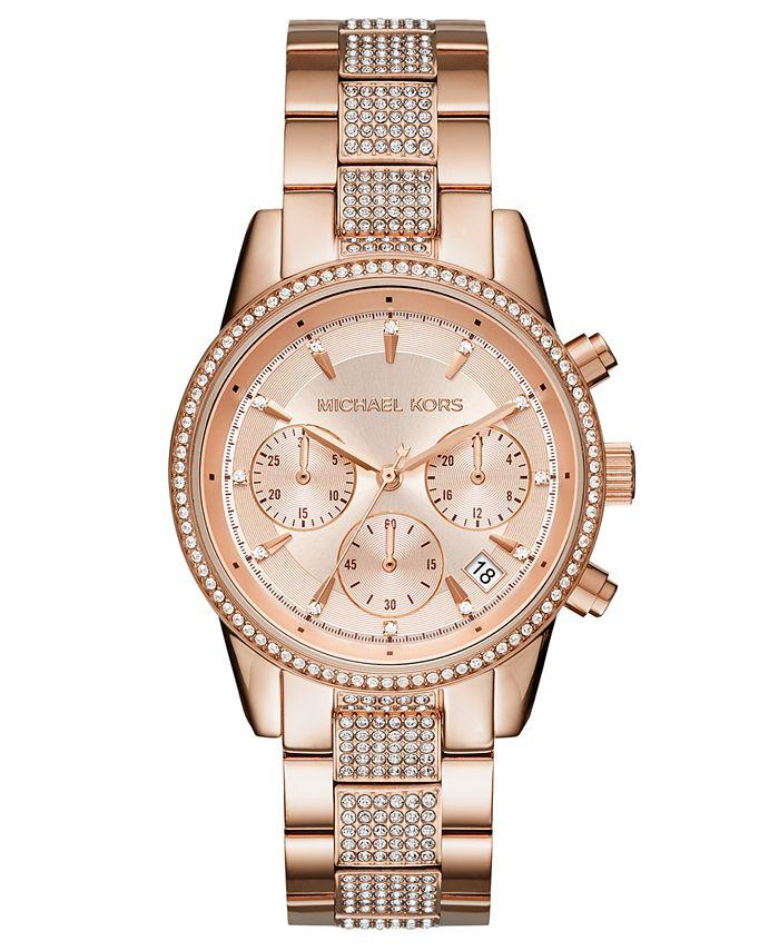 Michael Kors - Women's Chronograph Ritz Rose Gold-Tone Stainless Steel Bracelet Watch 37mm