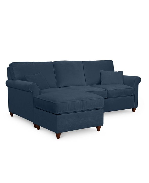 "Furniture Lidia 82"" Fabric 2-Pc. Reversible Chaise Sectional Sofa with Storage Ottoman - Custom Colors, Created for Macy's"