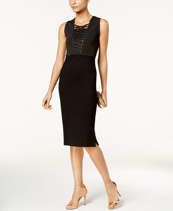 Love Scarlett - Petite Corset-Laced Metallic Bodycon Dress