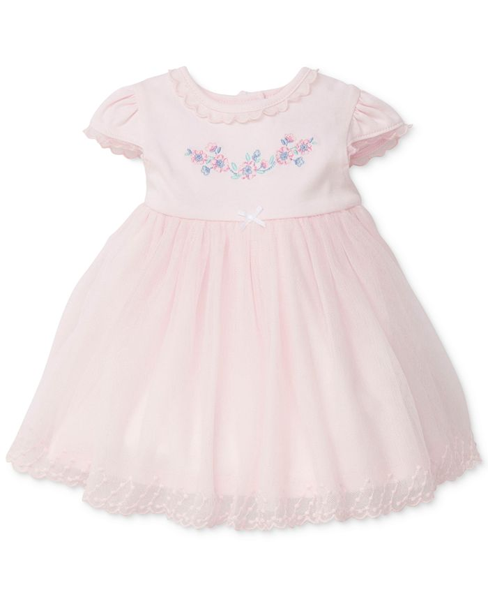 Little Me - Lace-Trim Embroidered Cotton Dress, Baby Girls (0-24 months)
