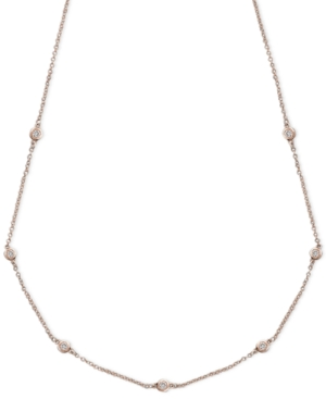 Trio by Effy Collection Diamond Necklace, 14k Rose Gold Diamond Seven Station (1/5 ct. t.w.)