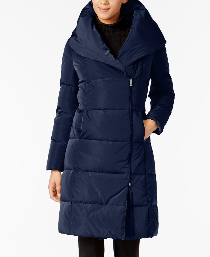 Cole Haan - Asymmetrical Pillow-Collar Puffer Coat