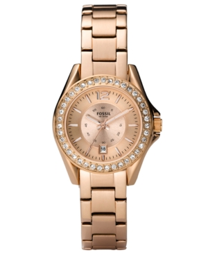 Fossil Watch, Women's Mini Riley Rose Gold Tone Stainless Steel Bracelet ES2889
