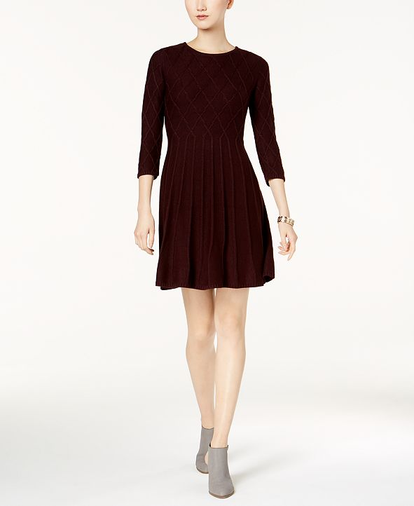 Jessica Howard Fit & Flare Patterned-Knit Sweater Dress