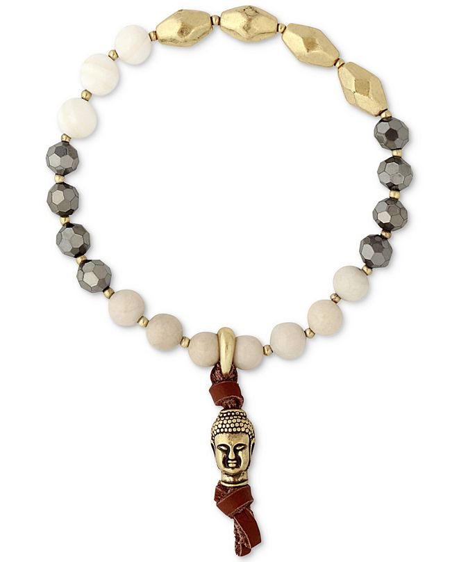Lucky Brand Two-Tone Buddha & Brown Leather Beaded Bracelet