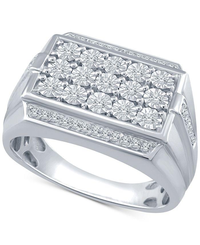 Macy's - Men's Diamond Cluster Ring (1/3 ct. t.w.) in Sterling Silver