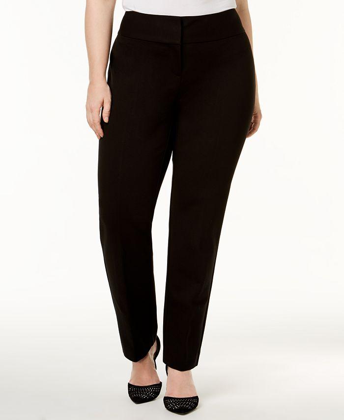 Alfani - Plus Size Tummy-Control Slim-Leg Pants