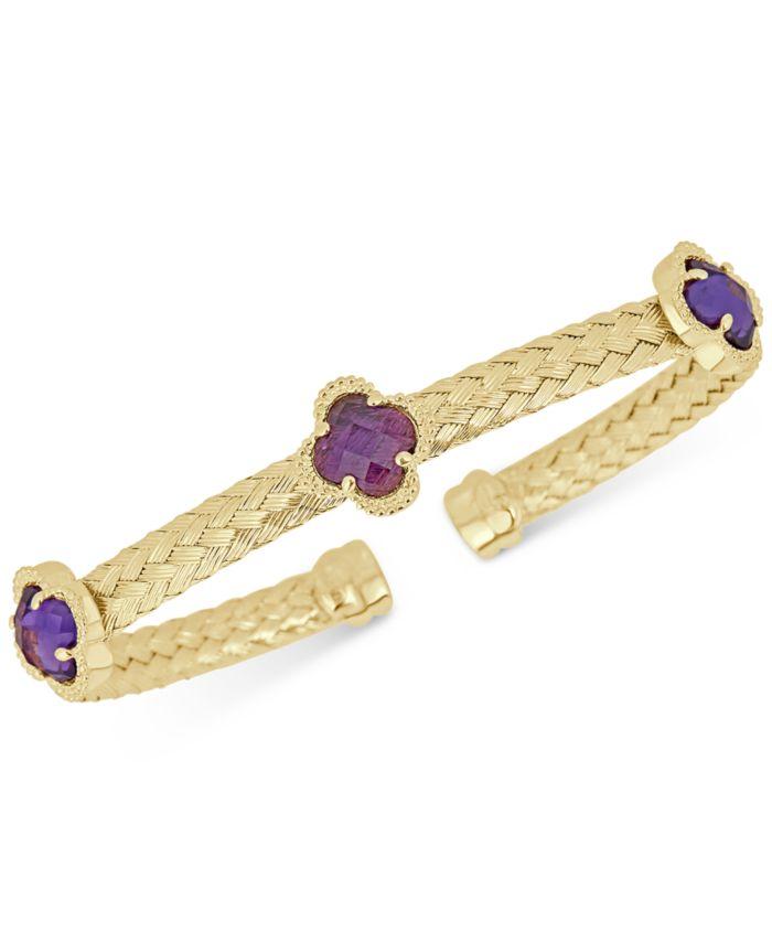 Macy's Swiss Blue Topaz Woven Cuff Bracelet (4-1/5 ct. t.w.) in 14k Gold-Plated Sterling Silver & Reviews - Bracelets - Jewelry & Watches - Macy's