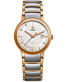 Rado Women's Swiss Automatic Centrix Two-Tone PVD Stainless Steel Bracelet Watch 28mm