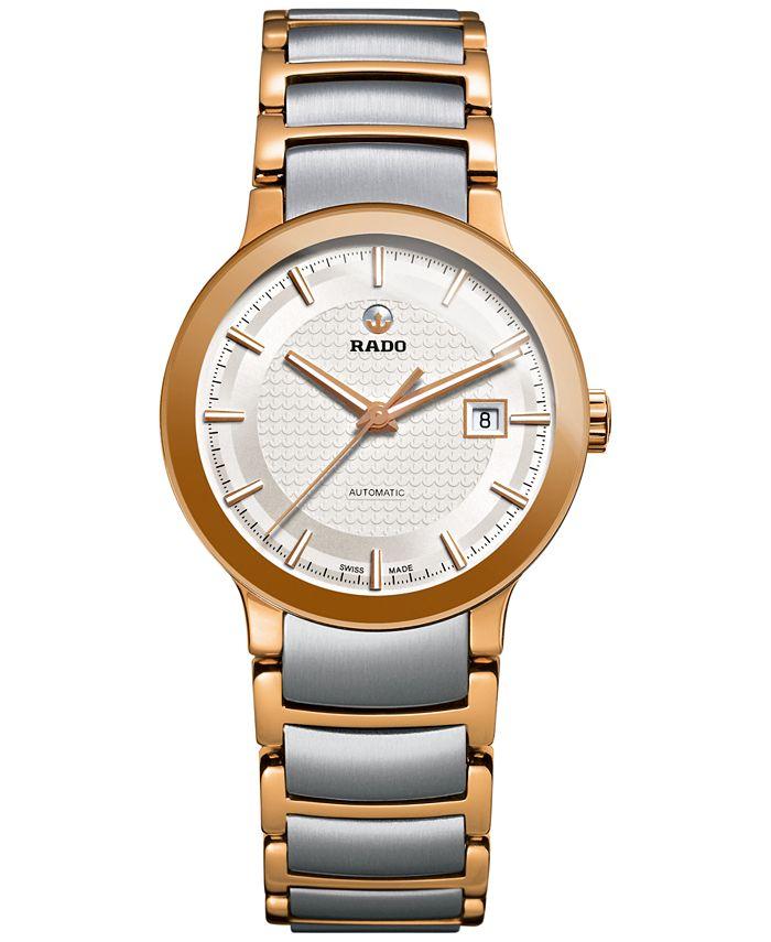Rado - Women's Swiss Automatic Centrix Two-Tone PVD Stainless Steel Bracelet Watch 28mm