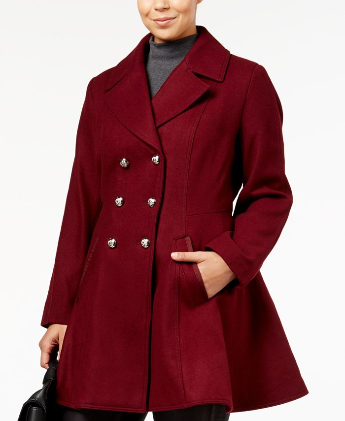 Laundry By Shelli Segal Plus Size Wool Blend Skirted Peacoat Created For Macy S Reviews Coats Women Macy S