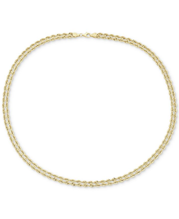"Macy's - 18"" Double Twisted Heart Chain Collar Necklace in 14k Gold"