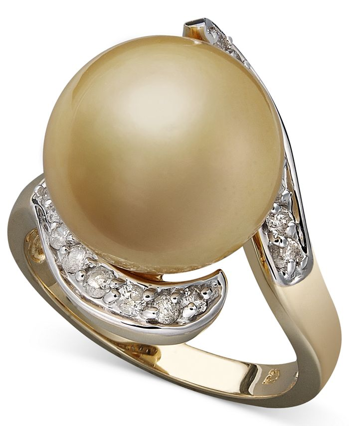Macy's - 14k Gold Ring, Cultured Golden South Sea Pearl (14mm) and Diamond (1/3 ct. t.w)