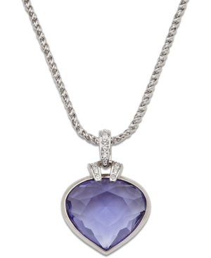 Swarovski Necklace, Oceanic Tanzanite and Crystal Heart Pendant