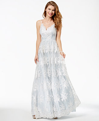 Say Yes To The Prom Juniors Embroidered Lace Gown Created For Macy S Reviews Dresses Juniors Macy S