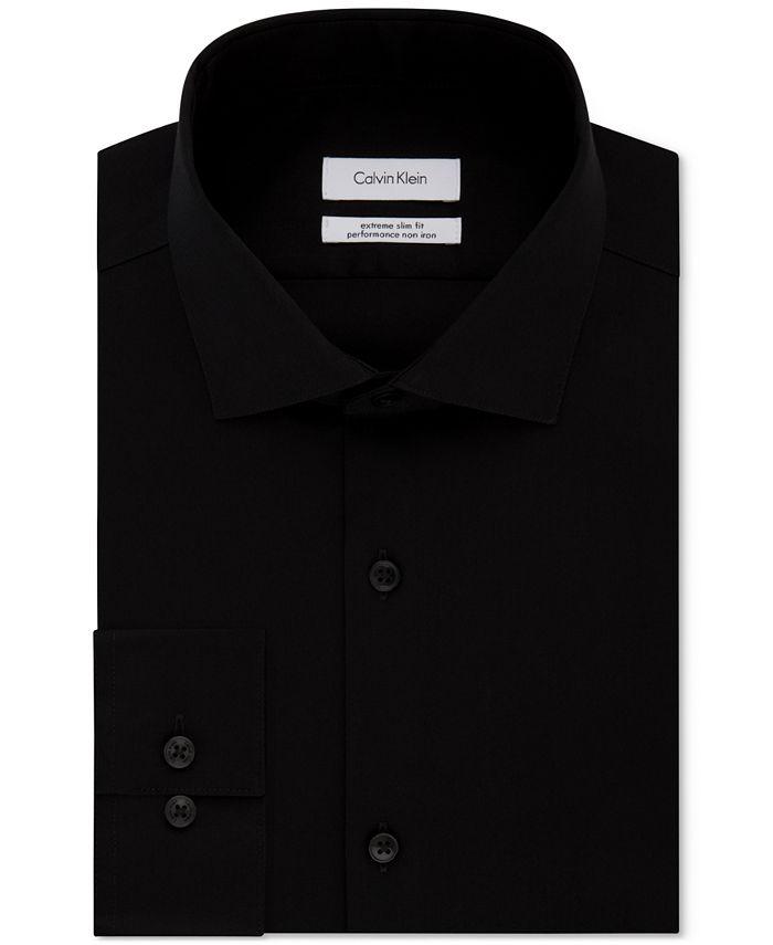 Calvin Klein - Men's STEEL Extra-Slim Fit Non-Iron Performance Herringbone Dress Shirt