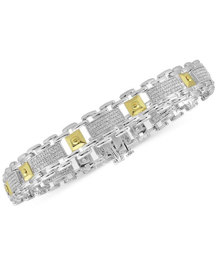 Macy's - Men's Diamond Two-Tone Bracelet (1/2 ct. t.w.) in Sterling Silver & 18k Gold-Plate