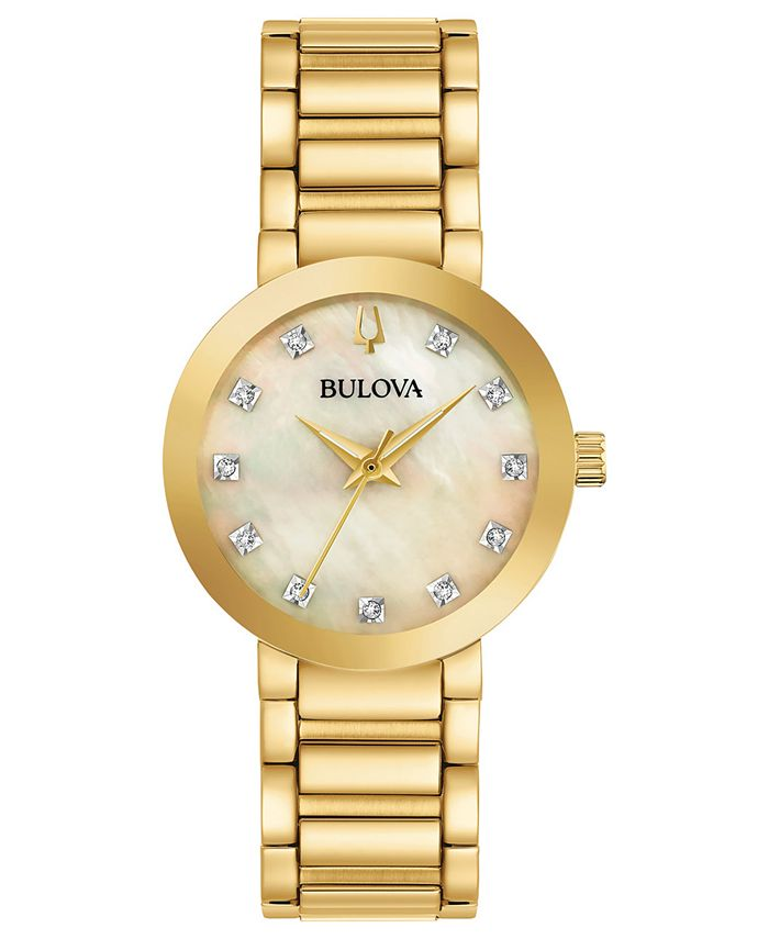 Bulova - Women's Futuro Diamond-Accent Gold-Tone Stainless Steel Bracelet Watch 30mm