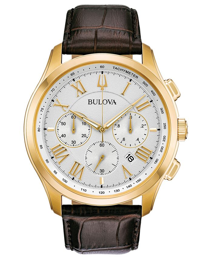 Bulova - Men's Chronograph Wilton Brown Leather Strap Watch 46.5mm