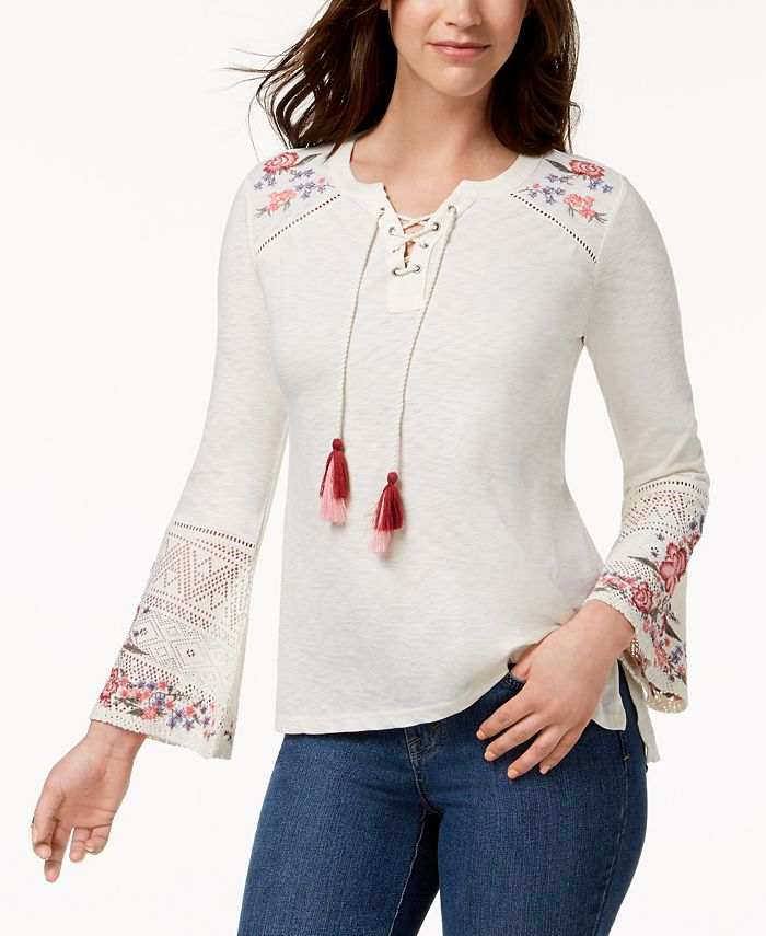 Style & Co - Embroidered Peasant Top