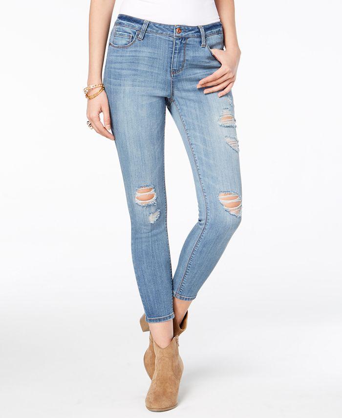 American Rag - Juniors' Ripped Skinny Ankle Jeans