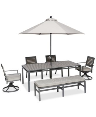 """Marlough II Aluminum Outdoor 6-Pc. Dining Set (84"""" x 42"""" Dining Table, 2 Dining Chairs, 2 Swivel Rockers and 1 Bench) with Sunbrella® Cushions, Created for Macy's"""