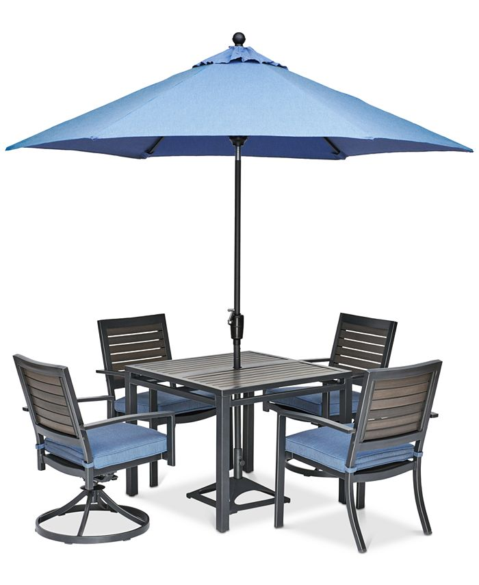 """Furniture - Harlough II Outdoor 5-Pc. Dining Set (36"""" Square Dining Table, 2 Dining Chairs and 2 Swivel Rockers) with Sunbrella® Cushions"""